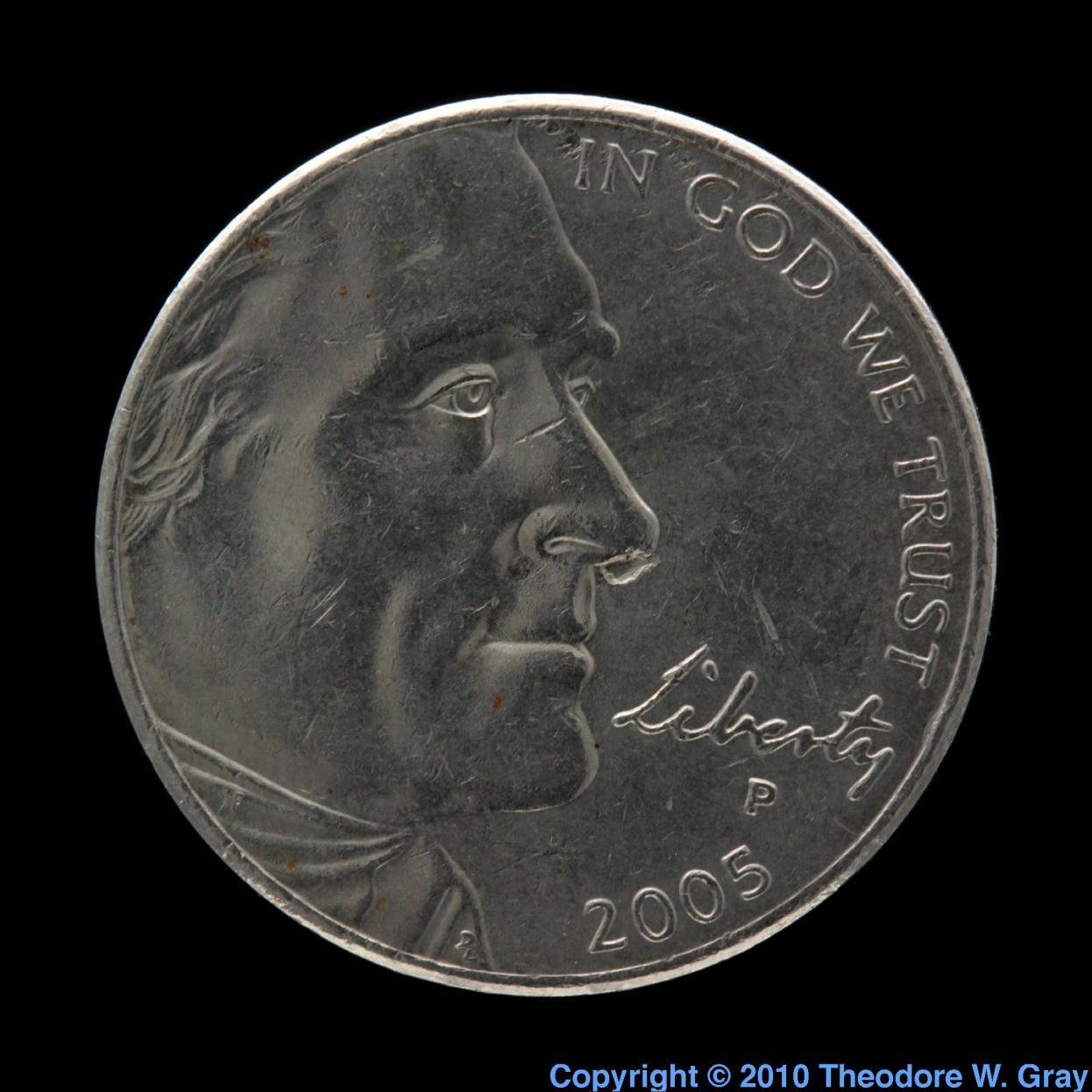 Copper US Nickel coin  Iridium Coin